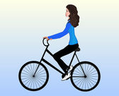 Beautiful young girl on a mountain bike, vector illustration — Stock Vector