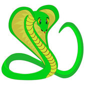 Cute green snake, vector illustration — Stock Vector