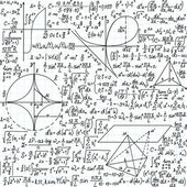 """Vector seamless pattern with mathematical formulas, equations and figures, """"handwritten on the copybook paper"""" — Vettoriale Stock"""