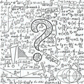 """Mathematical vector seamless background with question mark and task solutions, """"handwritten on the copybook paper"""" — Stock Vector"""