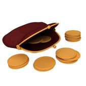 財布とゴールド コイン — ストック写真