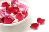 Rose petals in bowl — Stock Photo