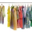 Colorful clothing on hanging - Stock Photo