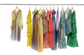 Colorful clothing on hanging — Stock Photo