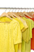 A rack of colorful shirt — Stock Photo