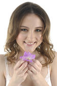 Beautiful woman with flowers — Stockfoto