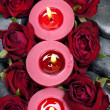 Stock Photo: Candles with red rose
