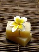 Soap with frangipani on mat — Stock Photo