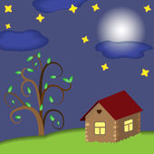 House at night — Stockvector