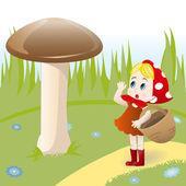 Pilz und Mädchen — Stockvektor
