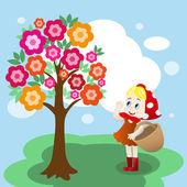 Girl under tree — Stock Vector