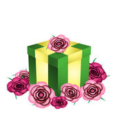 Gift and roses — Stock Vector