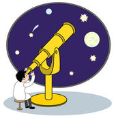Astronom mit teleskop — Stockvektor