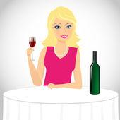 Girl drinks wine — Stock Vector
