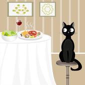 Gato negro buscando comida — Vector de stock