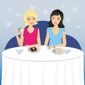 Two girls drink coffee with dessert — Stock Vector