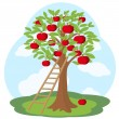 Apple tree and wooden staircase — Stockvectorbeeld