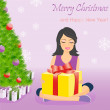 Happy girl with gift box near Christmas tree — Stock Vector