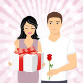 Man giving gift to girl — Stock Vector
