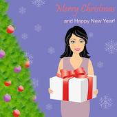 Girl with gift box near Christmas tree — Stock Vector