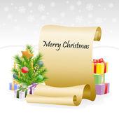 Papper rulla för jul grattis — Stockvektor