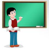Pupil at school board — Stockvector