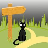 Gatto nero e freccia in legno sulla strada — Vettoriale Stock