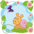 Snail and butterfly among flowers — Stock Vector