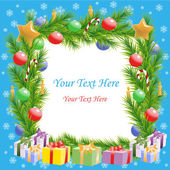 Christmas greetings Christmas tree frame with text — Stock Vector
