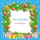 Jul hälsningar julgran ram med text — Stockvektor