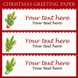 Three Christmas greeting paper with text — Stock Vector