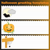 Three Halloween greeting templates — Stock Vector