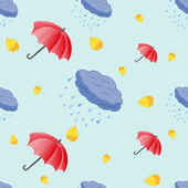 Seamless pattern of umbrellas and clouds — Vector de stock