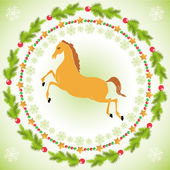 Christmas horse in round frame — Stock Vector