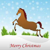 Christmas horse in snow — Stock Vector