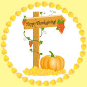 Wooden arrow with grapes and pumpkins Thanksgiving — Stockvektor