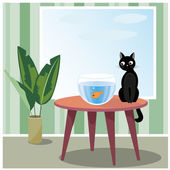 Naughty cat watching fish — Stock Vector
