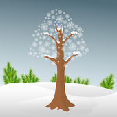 Winter tree in snow — Stock Vector