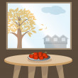 Apples on table by window — Image vectorielle