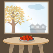 Apples on table by window — Stock Vector