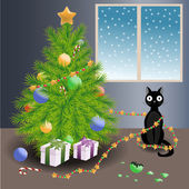 Naughty cat and Christmas tree — Stock Vector