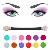 Eyeshadow Palette Augen Make-up — Stockvektor