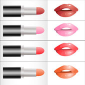 Set of different colors of lipstick — Stock Vector