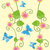 Floral seamless pattern with butterflies — Stock Vector