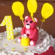 Stock Photo: Pink birthday cake