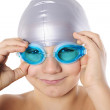 Boy swimmer with swimming goggles — Stock Photo