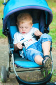 Little boy in a pram on a walk in the park — Stock Photo
