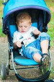 Menino em um carrinho de bebê para um passeio no parque — Foto Stock