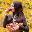 Young girl in autumn park with a basket of apples — Stock Photo