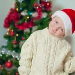 Little boy in santa hat near Christmas tree — Stock Photo #36748651
